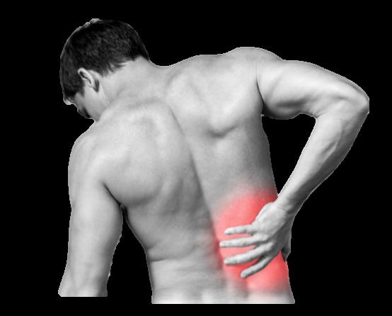 Photo d'un homme ayant une douleur dans le bas du dos représenté par une zone rouge